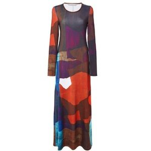 Clover Canyon Textured Ink Matte Jersey Dress SM